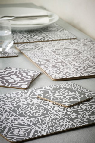 Set Of 4 Tile Print Placemats And Coasters by Next