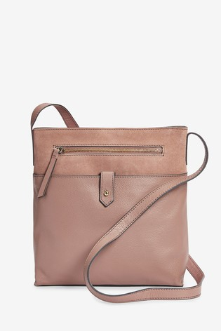 Leather And Suede Messenger Across Body Bag by Next