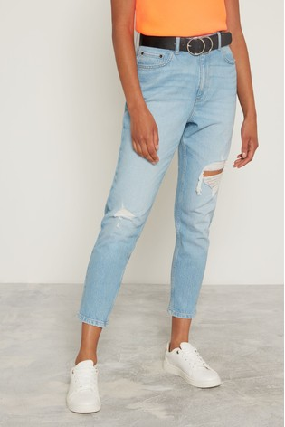 F&F Light Wash Lightwash Mom Belted Jeans by Next