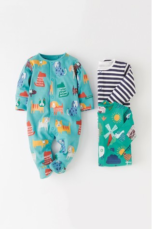 Green/Blue 3 Pack Farm Animal And Dog Print Sleepsuits (0mths 2yrs) by Next