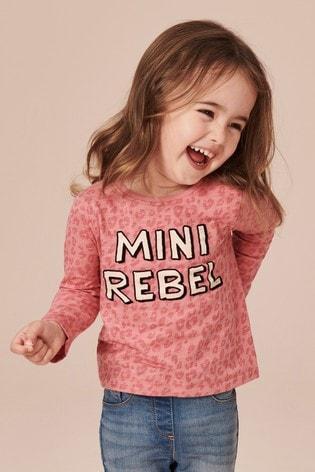Pink Animal Print Slogan Long Sleeve T Shirt (3mths 7yrs) by Next