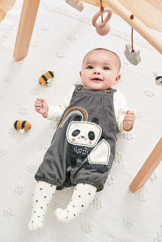 Grey Panda Cord Dungaree, Bodysuit And Tights Set (0mths 2yrs) by Next