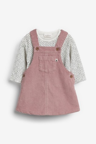 Pink/White Cord Pinafore And Bodysuit Set (0mths 2yrs) by Next