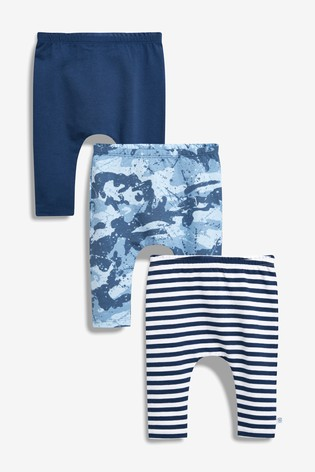 Blue Stripe And Camouflage Leggings Three Pack (0mths 2yrs) by Next