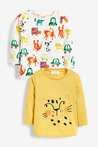 Yellow Animal T Shirts Two Pack (0mths 2yrs) by Next