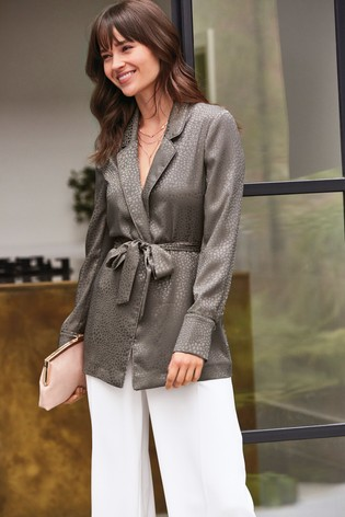 Mink Animal Jacquard Soft Belted Jacket by Next