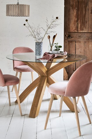 Buy Oak Amp Glass Round Dining Table From The Next Uk Online