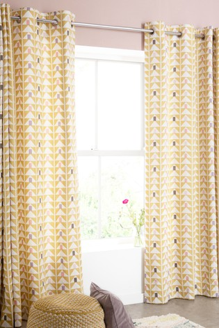 Buy Ochre Geo Print Eyelet Curtains From The Next Uk