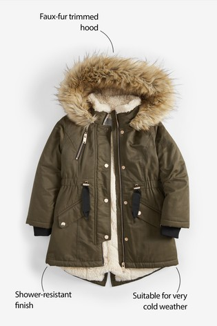 9eee41152 Buy Khaki Shower Resistant Faux Fur Trimmed Parka (3-16yrs) from the ...