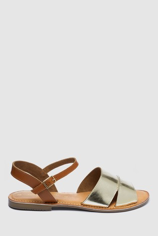 Metallic Forever Comfort® Leather Two Part Sandals