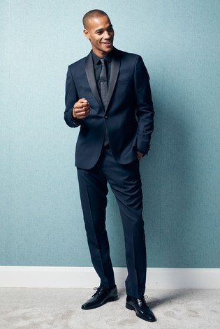 Buy Navy Slim Fit Textured Tuxedo Suit: Jacket from Next Turkey