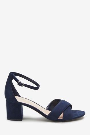 Sandals Cross Over Navy Heel Comfort® Forever Block JF1KTlc