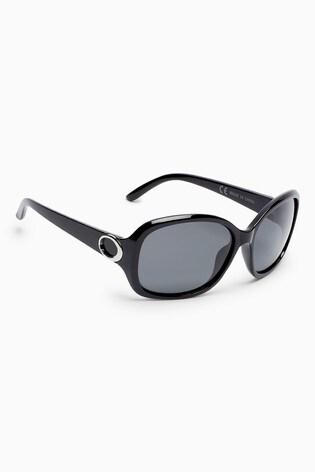 Black Medium Square Polarised Sunglasses