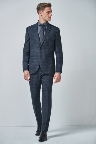 79c7009a Teal Slim Fit Wool Blend Check Suit: Jacket