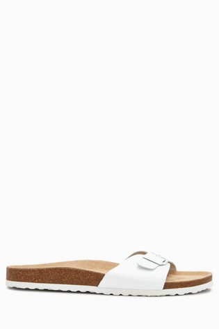 White Leather Single Buckle Sandals