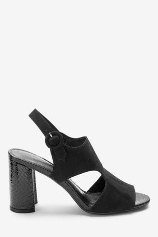 b594d8db26f Black Cut Out Block Sandals