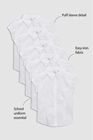 White 5 Pack Puff Sleeve Blouse (3-16yrs)