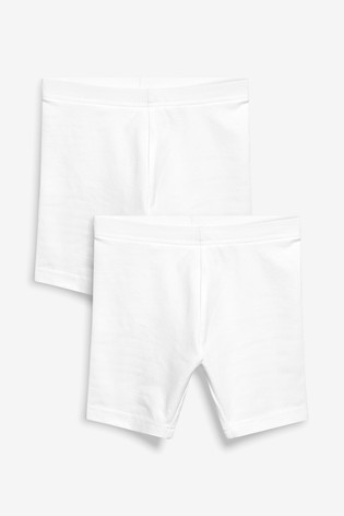 White 2 Pack Cycle Shorts (3-16yrs)