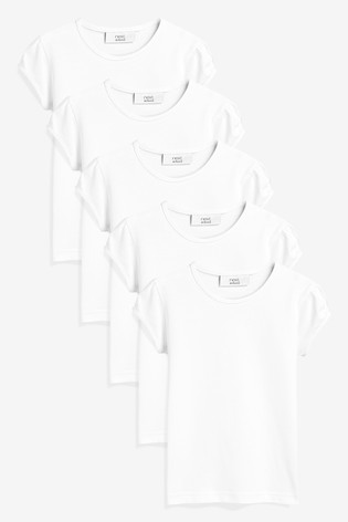 962ed317b79a11 Buy White 5 Pack Puff Sleeve T-Shirt (3-16 lat) from Next Poland