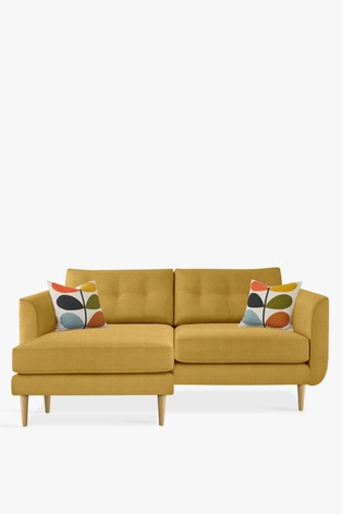 Orla Kiely Linden Large Chaise Sofa With Oak Feet