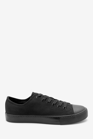 Black Baseball Canvas Lace-Up Trainers
