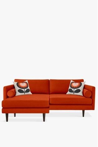 Orla Kiely Mimosa Large Chaise Sofa With Walnut Feet