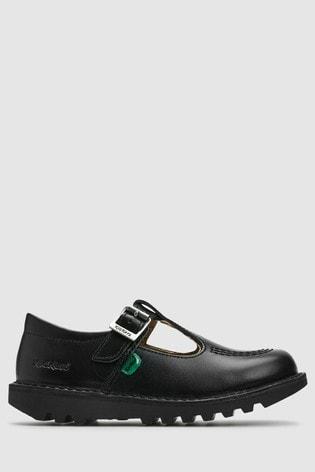 Kickers® Black Leather Kick T-Bar Shoe