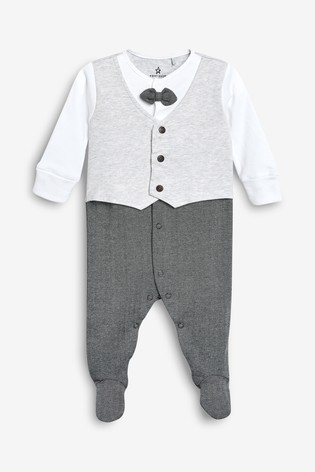 Grey Smart Bow Tie Sleepsuit (0-2yrs)
