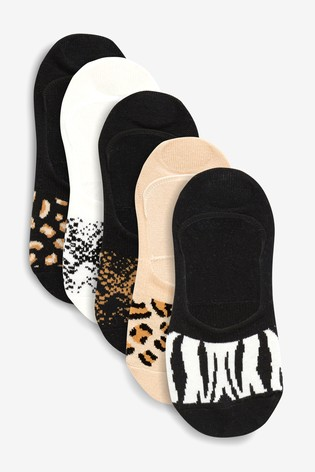 Animal Pattern Invisible Trainer Socks Five Pack