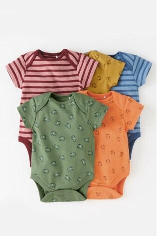 Multi 5 Pack Character/Stripe Short Sleeve Bodysuits (0mths-2yrs)