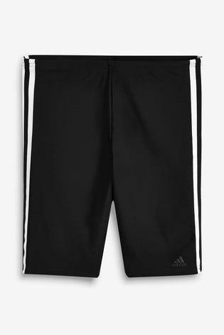 adidas Black 3 Stripe Jammers Swim Shorts