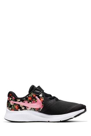 revendeur 074fa b4c9f Nike Run Black/Floral Star Runner Junior Trainers