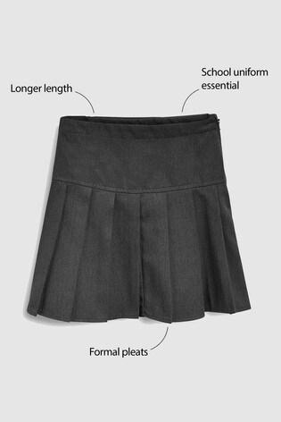 Grey Longer Length Pleat Skirt (3-16yrs)