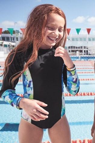 b3c0190cebd Buy Black Long Sleeve Sunsafe Swimsuit (3-16yrs) from Next Lebanon