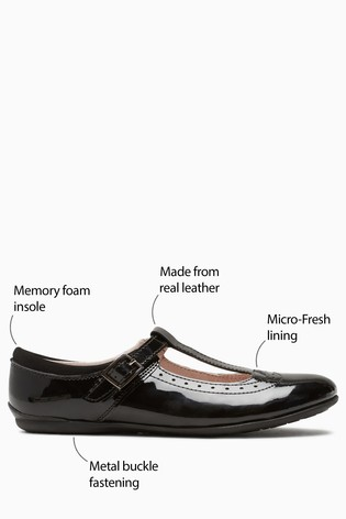 Black Patent Narrow Fit Leather T-Bar Leather Shoes (Older)