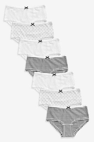 Monochrome 7 Pack Hipster Briefs (2-16yrs)