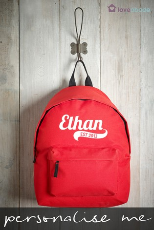 Personalised Red Backpack by Loveabode