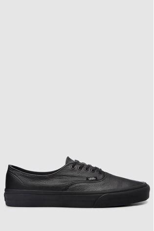 black vans leather