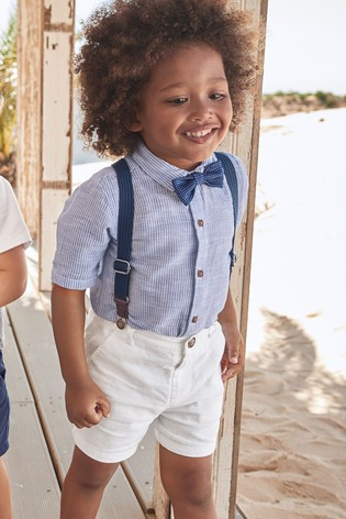 free delivery rational construction limited style Blue/White Shirt, Shorts, Braces And Bow Tie Set (3mths-7yrs)