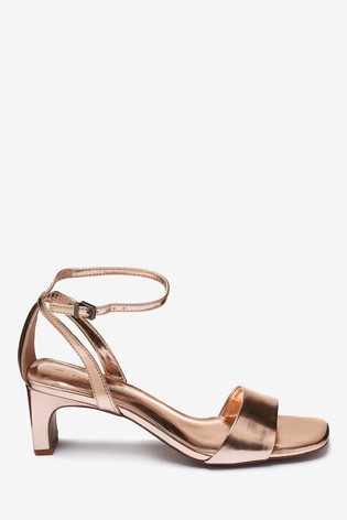 couleurs délicates couleurs et frappant style roman Rose Gold Square Toe Block Sandals