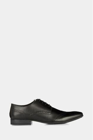 Moss London Lucan Black Brogue Shoes