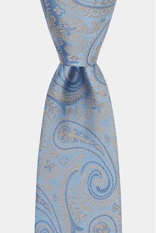 Moss 1851 Sky/Gold Paisley Tie