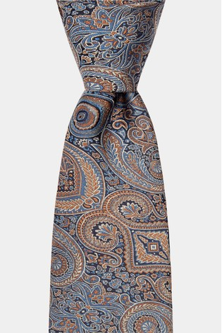 Moss 1851 Blue Tonal Oversized Paisley Tie