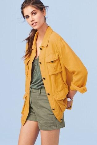 6b5e1f792 Ochre Linen Blend Utility Jacket