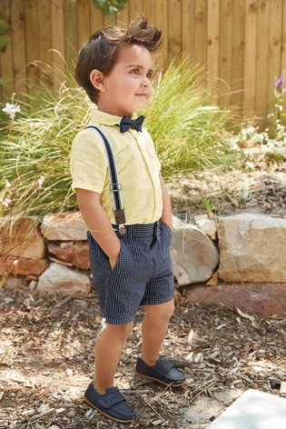 Yellow Shirt, Shorts And Bow Tie Set (3mths-7yrs)