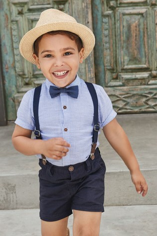 Blue Shirt, Shorts, Bow Tie And Braces Set (3mths-7yrs)