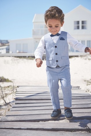 Blue Check Waistcoat, Shirt And Bow Tie Set (3mths-7yrs)