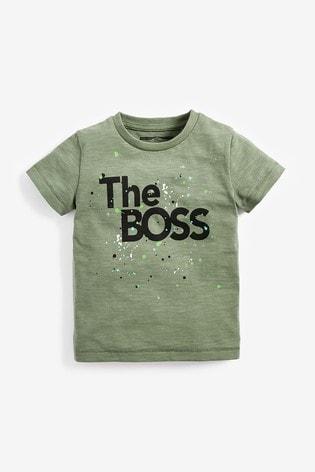 Khaki Short Sleeve The Boss T-Shirt (3mths-7yrs)