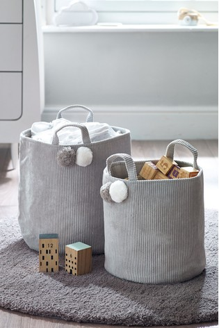 2 Pack Pom Pom Cord Storage Baskets