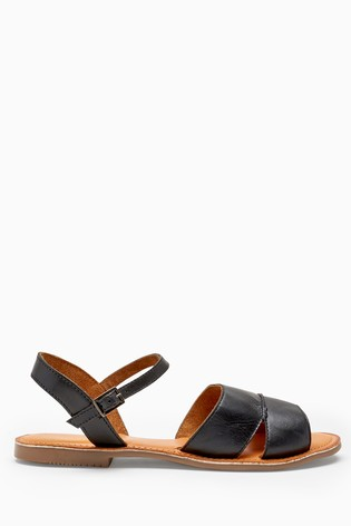 Black Forever Comfort® Leather Two Part Sandals